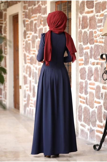 Öykü Tesettür Elbise - Lacivert