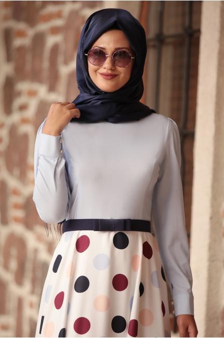 Rana Zen - Puantiyeli Elbise - Mavi