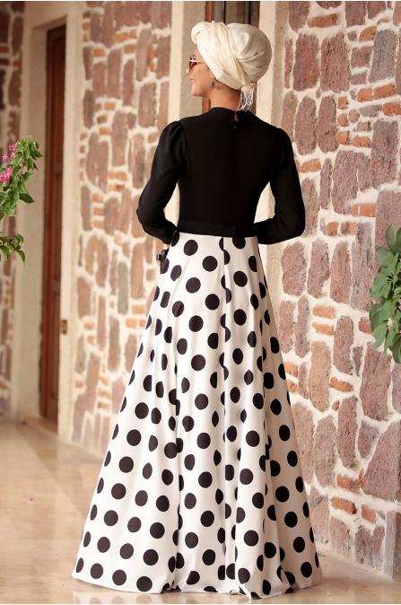 Rana Zen - Puantiyeli Elbise - Siyah