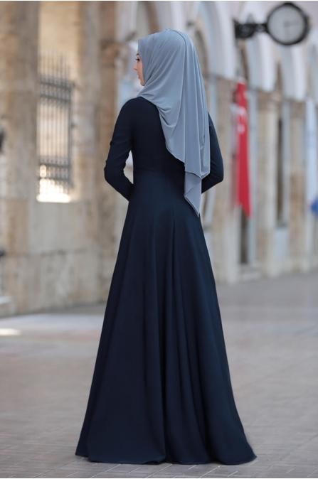 Simay Taşlı Elbise - Lacivert - Rana Zen