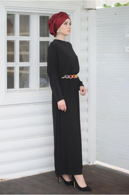 Gökkuşağı Elbise - Siyah - Salkım Saçak