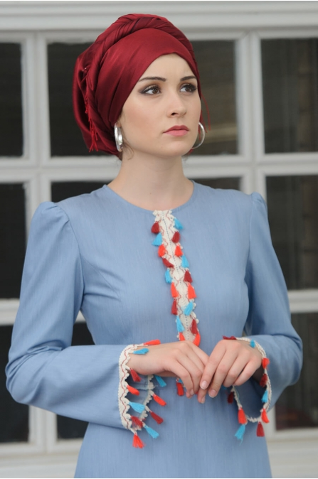 Hera Elbise - Mavi - Salkım Saçak