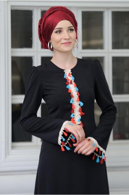 Hera Elbise - Siyah - Salkım Saçak