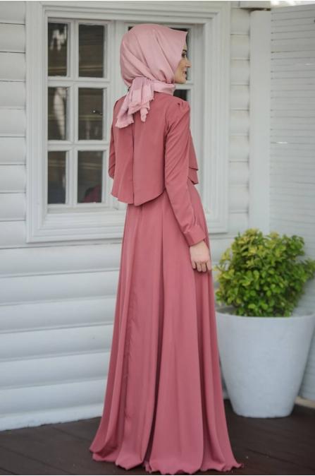 Salkım Elbise - Gül Kurusu - Salkım Saçak