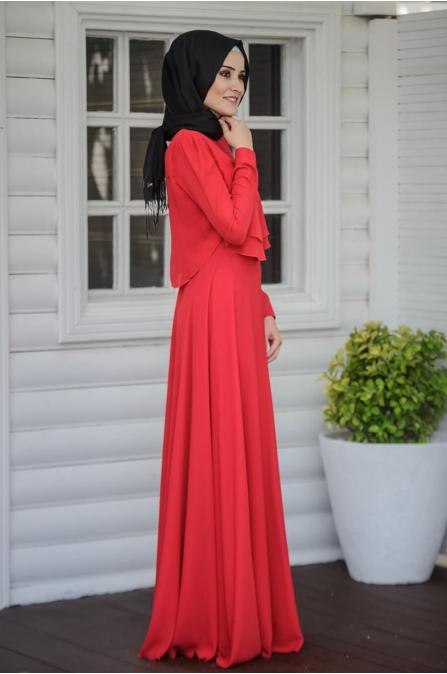 Salkım Elbise - Kırmızı - Salkım Saçak