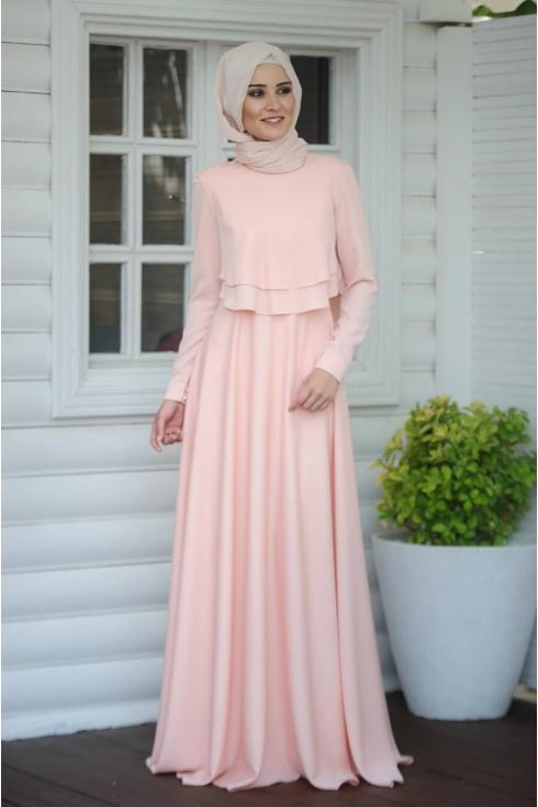 Salkım Elbise - Pudra - Salkım Saçak
