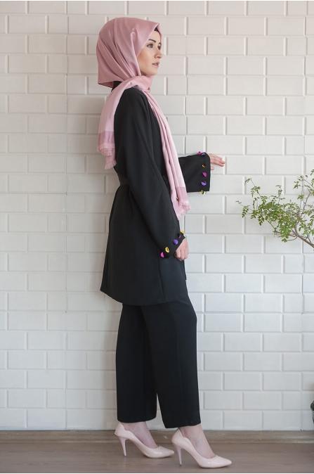 Pullu Takım Siyah - Salkım Saçak
