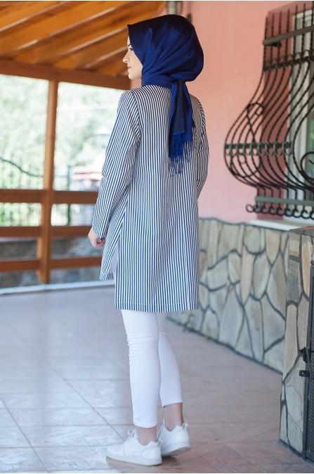 Çizgili Tunik Mavi - Salkım Saçak
