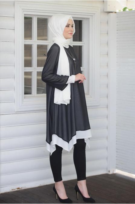 Gülşah Tunik - Siyah Beyaz - Salkım Saçak
