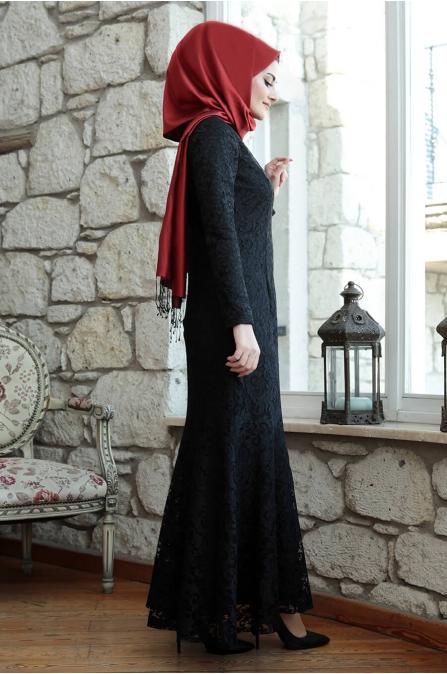 Azra Dantelli Abiye - Siyah - Seda Tiryaki