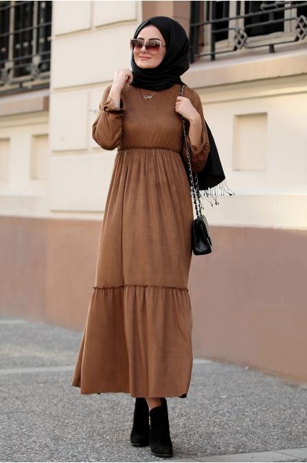 Seda Tiryaki - Beli Büzgülü Elbise - Kahve