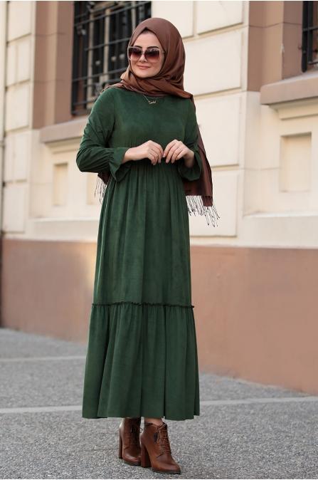 Seda Tiryaki - Beli Büzgülü Elbise - Haki