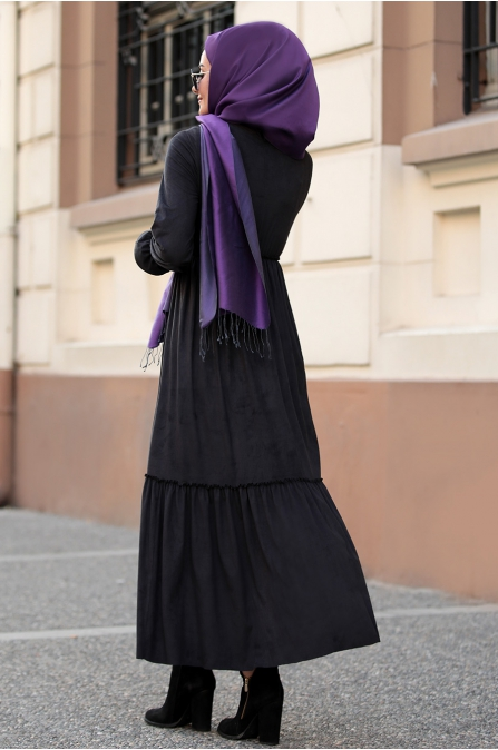 Seda Tiryaki - Beli Büzgülü Elbise - Siyah