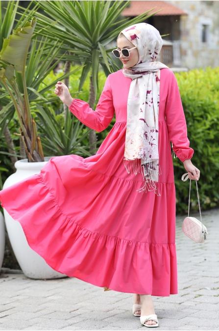 Alaçatı Kat Kat Elbise - Fuşya