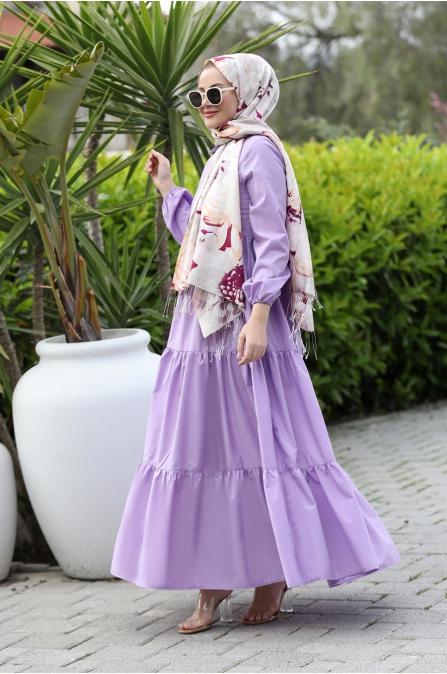 Alaçatı Kat Kat Elbise - Lila