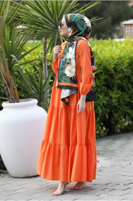 Alaçatı Kat Kat Elbise - Turuncu