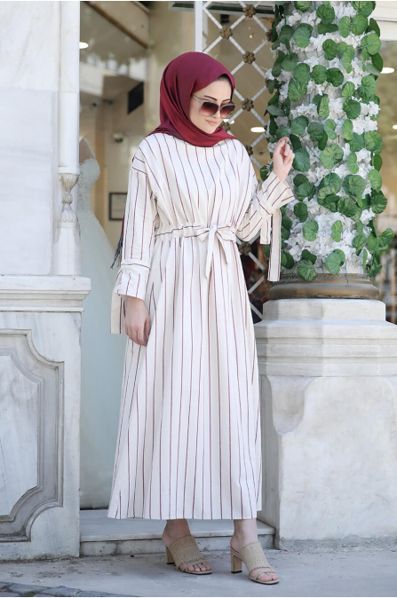 Çizgili Elbise - Bordo - Seda Tiryaki