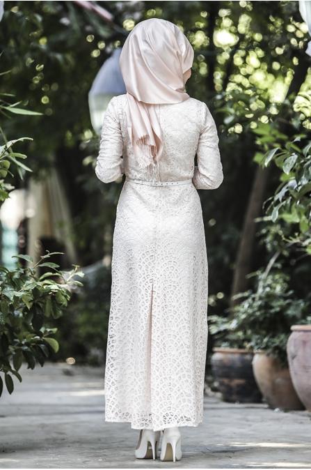 Dantel Kaplama Elbise - Bej