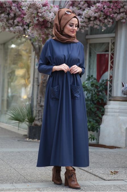 Esin Elbise Petrol - Seda Tiryaki