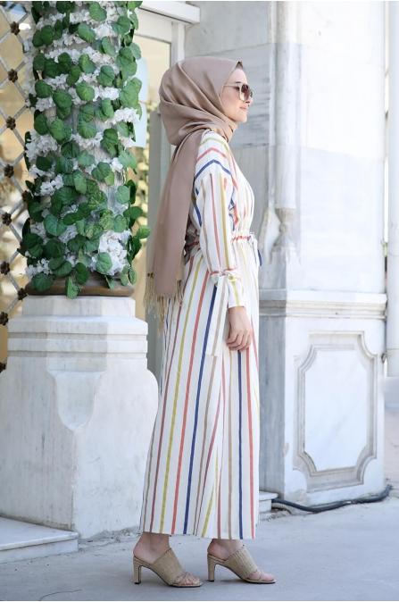 Gökkuşağı Tesettür Elbise - Seda Tiryaki