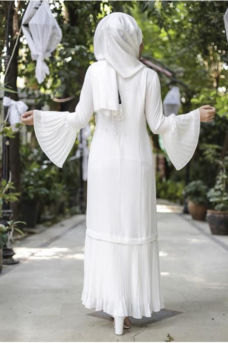 Gülbahar Kol Pilise Elbise - Ekru