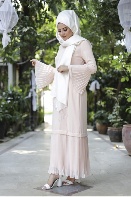 Gülbahar Kol Pilise Elbise - Somon