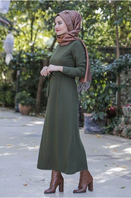 Kışlık Haki Elbise- Seda Tiryaki