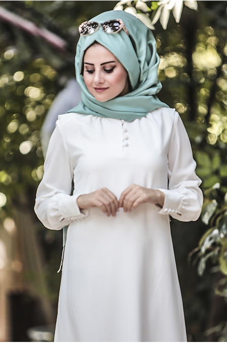Ravza Elbise - Ekru - Seda Tiryaki