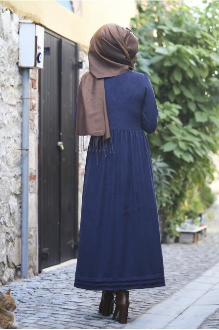 Züma Elbise - Lacivert - Seda Tiryaki