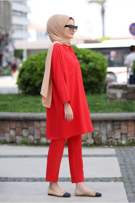 Beyza ikili Takım - Kırmızı - Seda Tiryaki