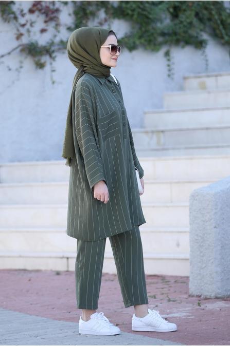Nisa Tunik Pantolon Takım - Haki - Seda Tiryaki