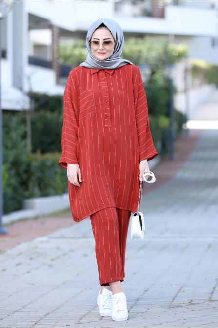 Nisa Tunik Pantolon Takım - Kırmızı - Seda Tiryaki