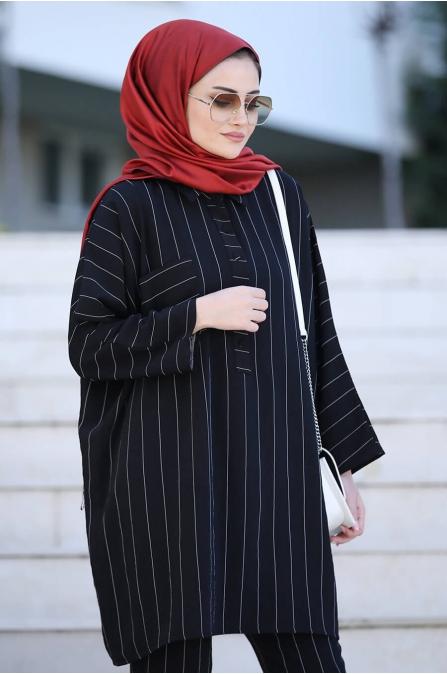 Nisa Tunik Pantolon Takım - Siyah - Seda Tiryaki
