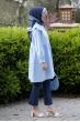 Yakası Dantelli Tunik - Mavi