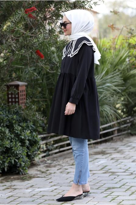 Yakası Dantelli Tunik - Siyah