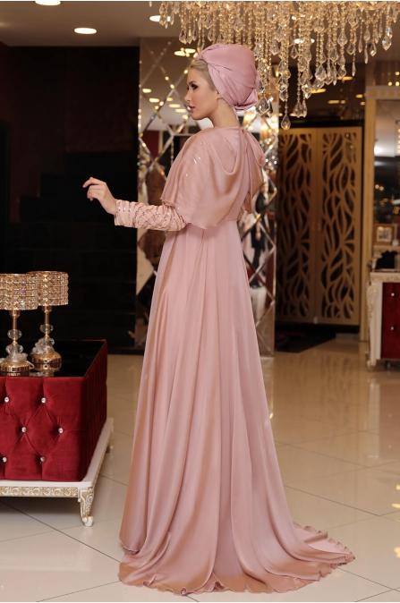 Vogue Tesettür Abiye - Pudra - Selma Sarı