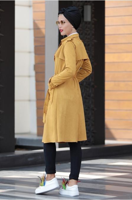 Selma Sarı - Süet Trenç Ceket - Hardal