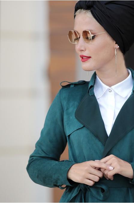 Selma Sarı - Süet Trenç Ceket - Yeşil