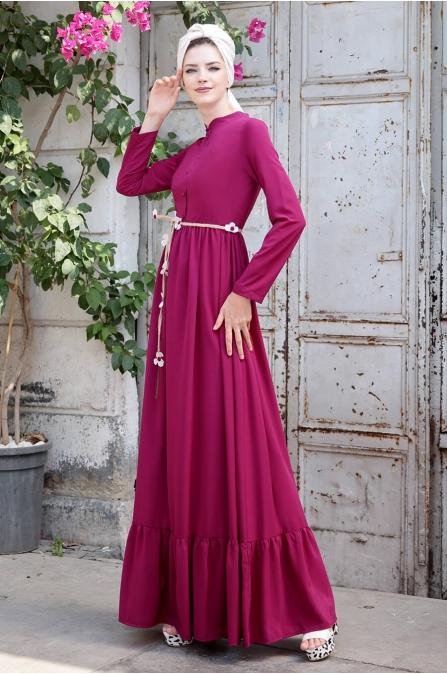 Bahar Elbise - Fuşya - Selma Sarı