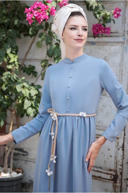Bahar Elbise - Mavi - Selma Sarı