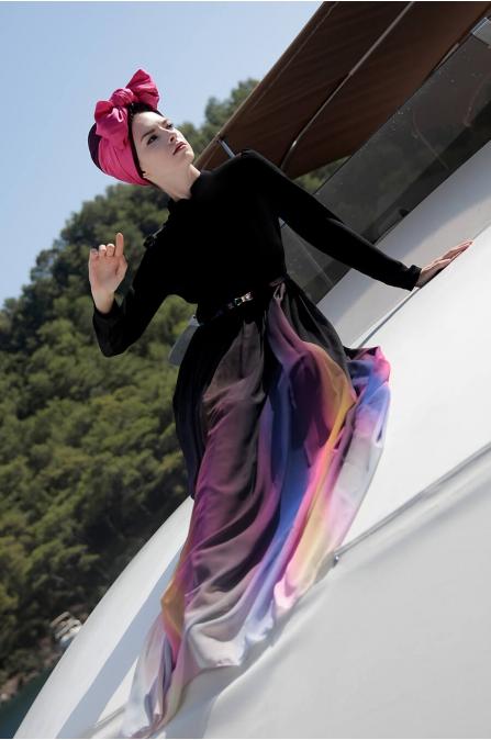 Gökkuşağı Tesettür Elbise - Selma Sarı