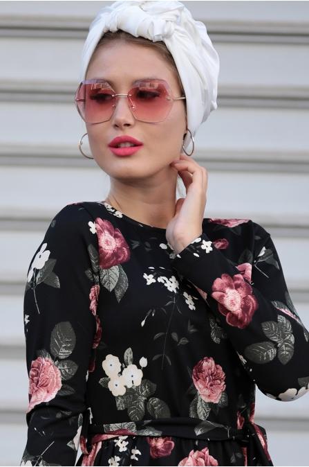 Selma Sarı - Gonca Elbise - Siyah Gül Kurusu