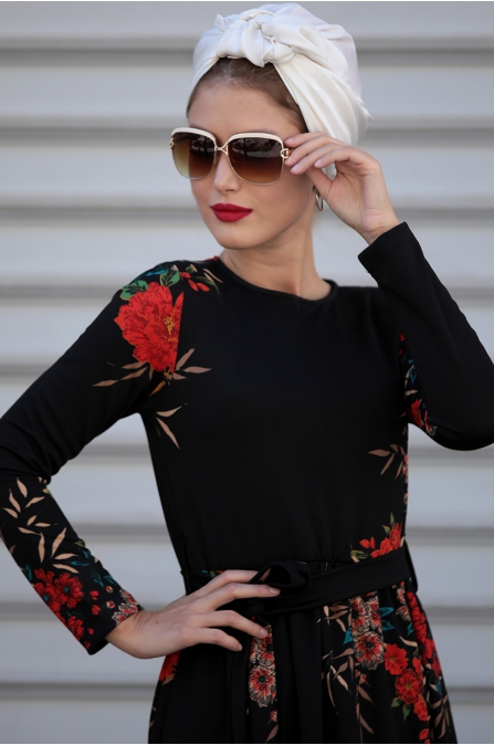 Selma Sarı - Gonca Elbise - Siyah Kahve