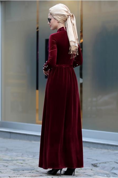 Selma Sarı - İncili Kadife Elbise - Bordo