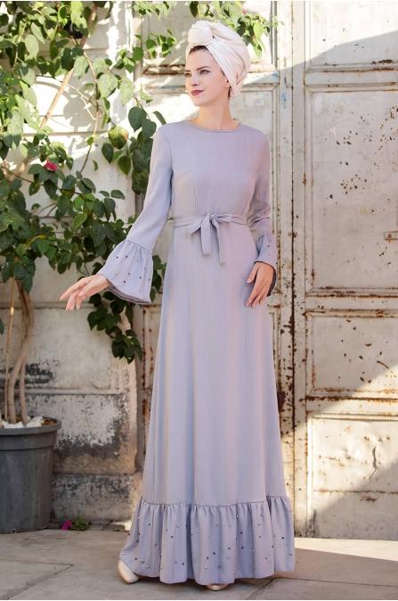 İnci Çakma Elbise - Gri - Selma Sarı