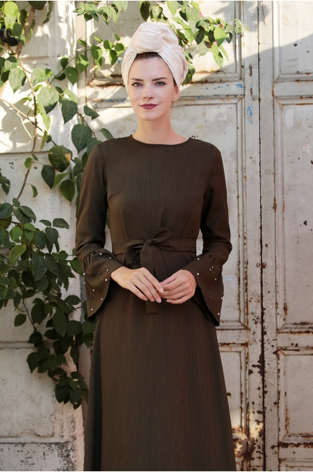 İnci Çakma Elbise - Haki - Selma Sarı
