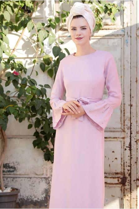 İnci Çakma Elbise - Lila - Selma Sarı