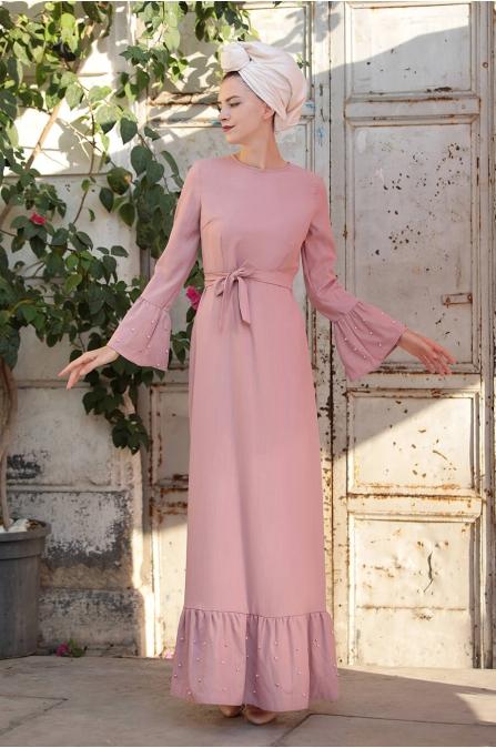 İnci Çakma Elbise - Pudra - Selma Sarı