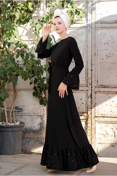 İnci Çakma Elbise - Siyah - Selma Sarı