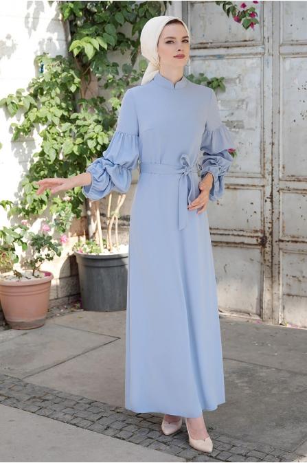 Kolları Büzgülü Elbise - Bebe Mavisi - Selma Sarı